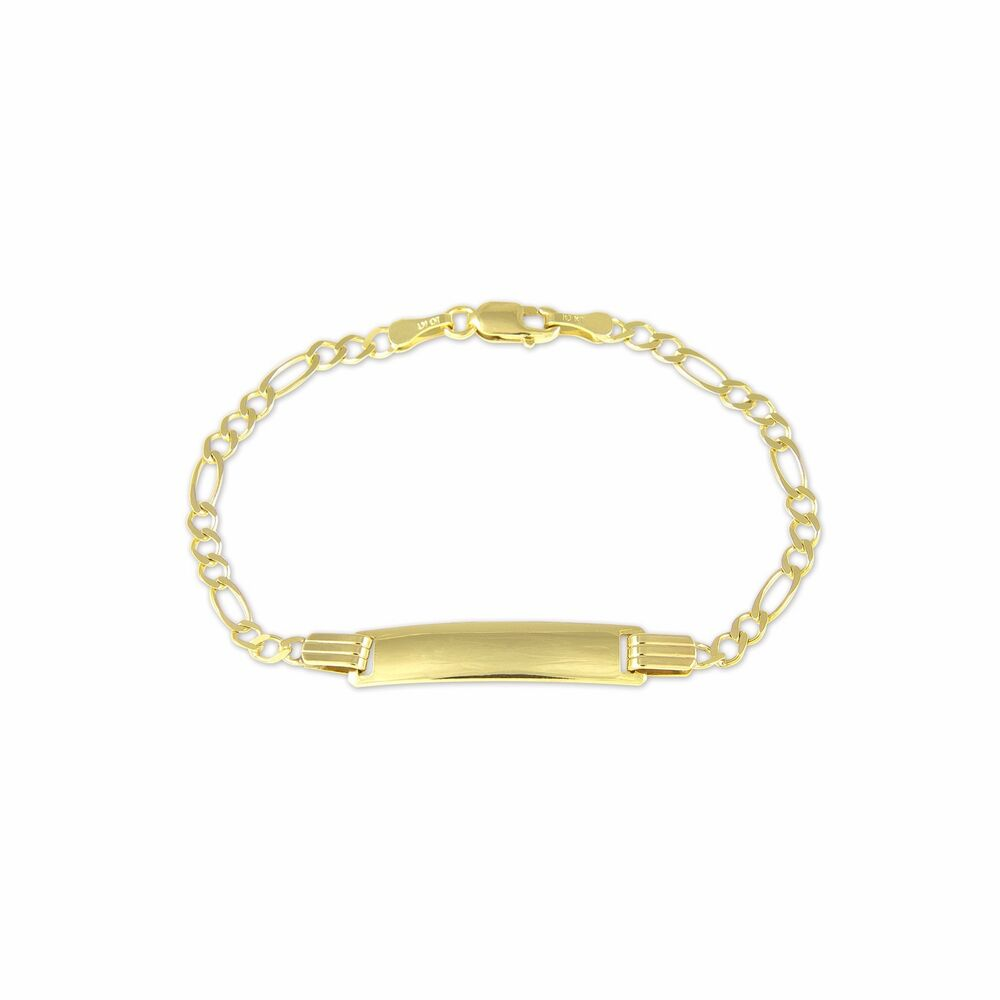 10K Yellow Gold Figaro ID Bracelet Baby Kids Name Plate