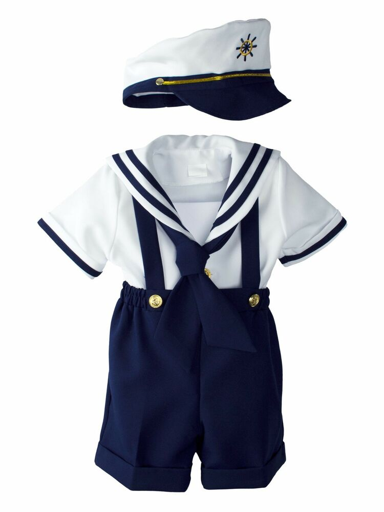 Baby Toddler Boys Sailor Navy Dress With Hat Costume