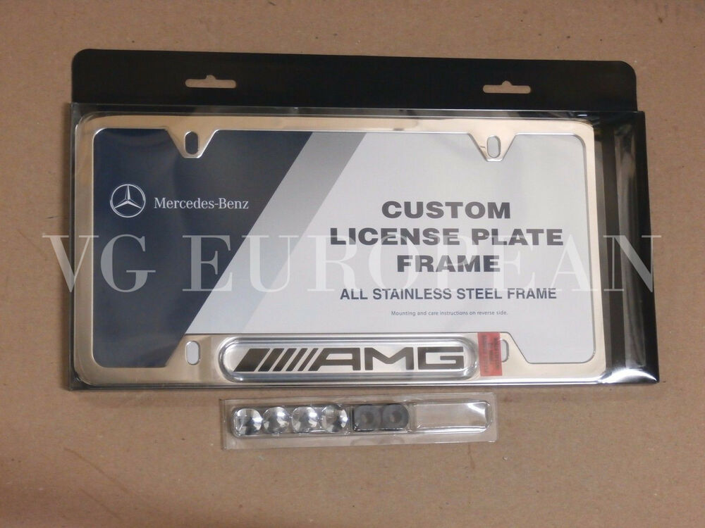 Mercedes benz genuine polished stainless steel license for Mercedes benz license plate logo