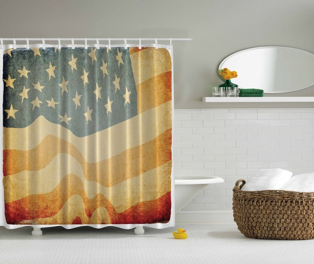 Americana patriotic usa rustic flag shower curtain 4th Stars and stripes home decor