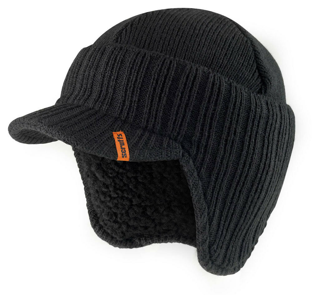 scruffs peaked beanie hat black insulated warm thermal. Black Bedroom Furniture Sets. Home Design Ideas