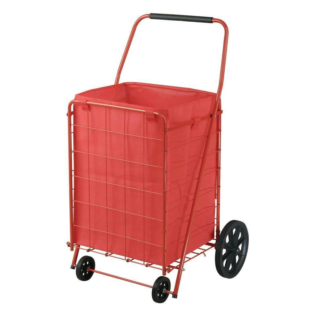 Folding Shopping Cart Large Grocery Basket Collapsible