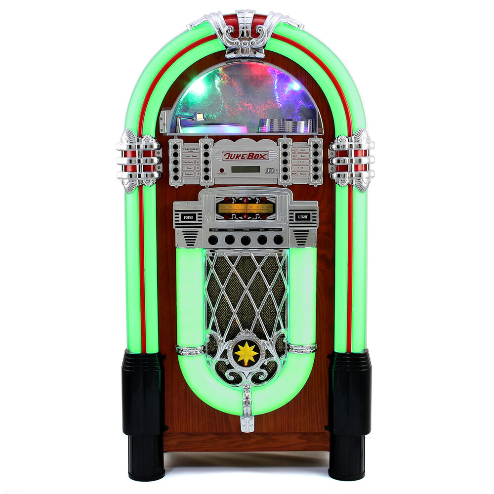 Jukebox Vintage 1950s Retro Stereo Cd Player Fm Radio Aux