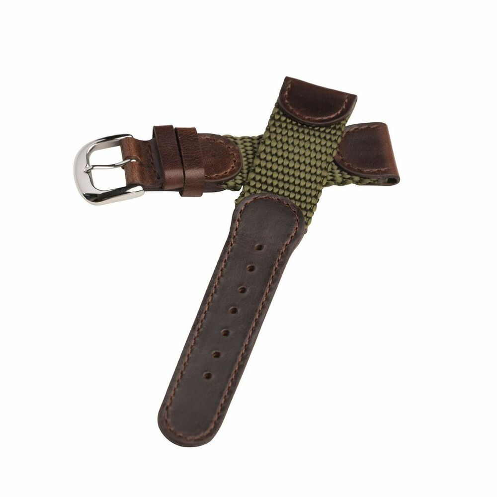 19mm olive ms866 hadley roma mens leather nylon army watch band strap military ebay for Men gradient leather strap