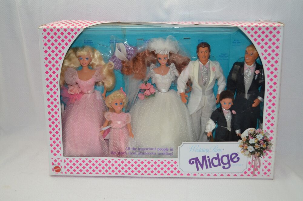 Vintage Midge Wedding Party Gift Set Barbie Friend 1990 Mattel Mint In ...
