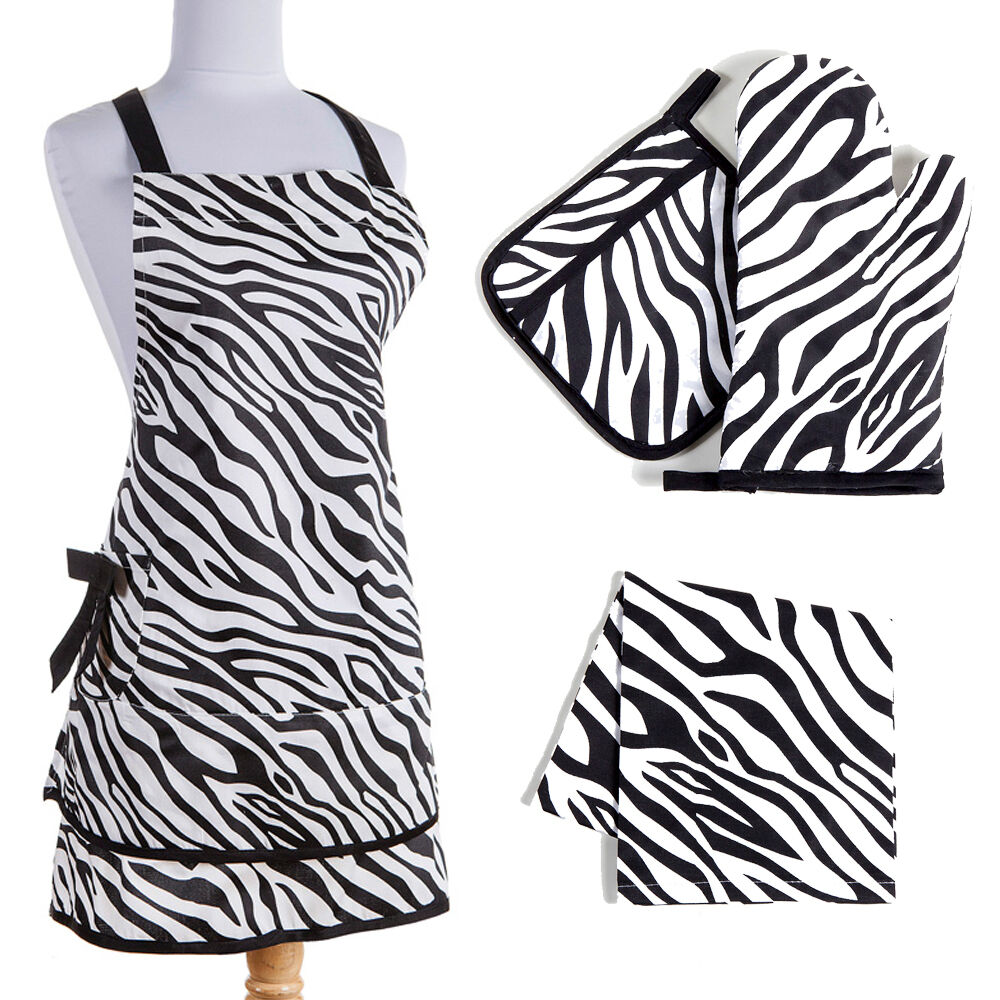 zebra kitchen linen set black and white cotton animal