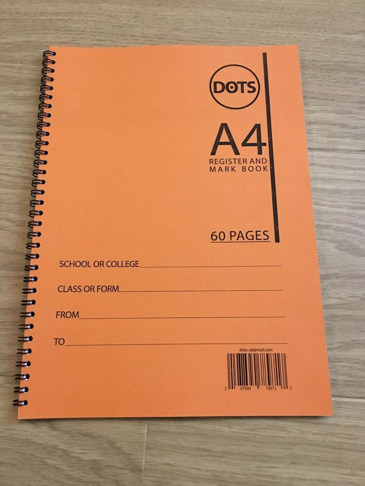 school class attendance register classroom mark book  60 pages  50 names  orange 65765898989