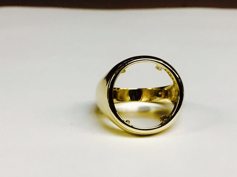 14k Gold Ring 20 Mm For 1 10 Oz Us Liberty Coin Mounting Only Ebay