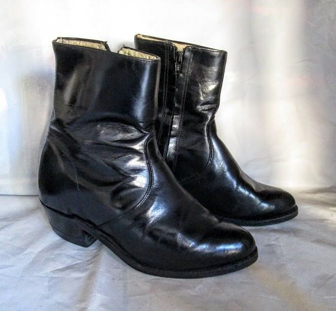 Made In Usa Men S All Black Leather Zip Side Side Ankle