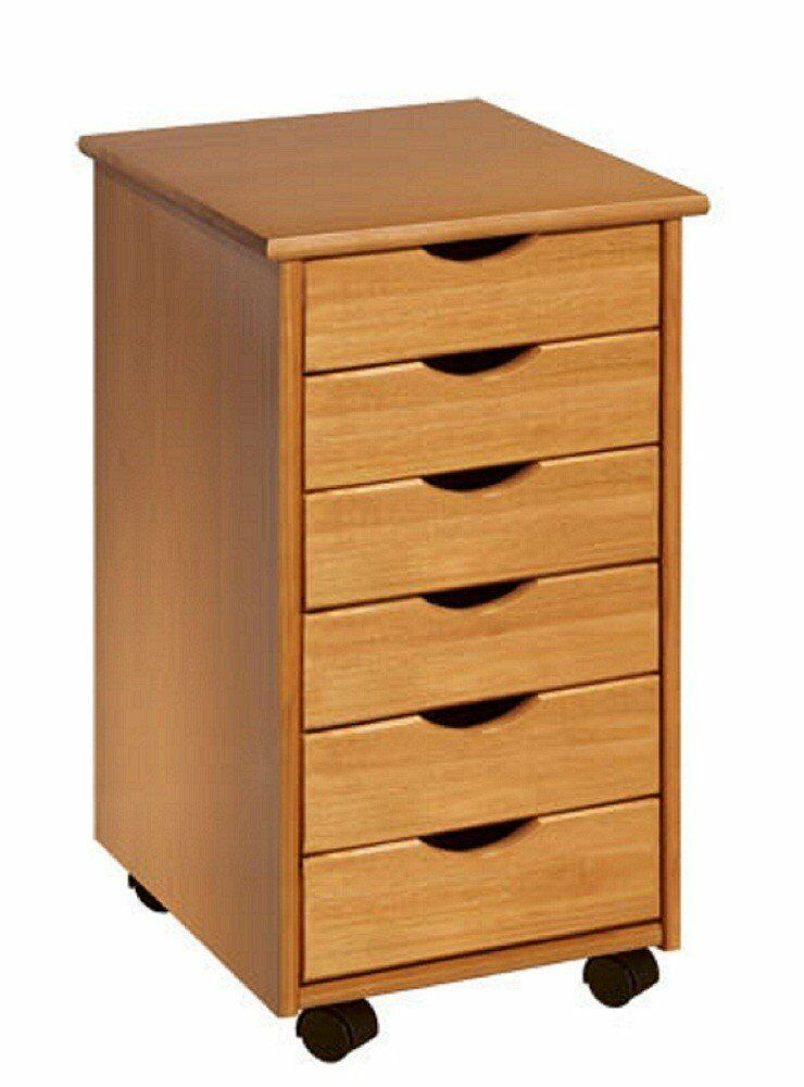 Rolling Office Cart 6 Drawers Crafts Solid Wood Sewing Organizer Desk