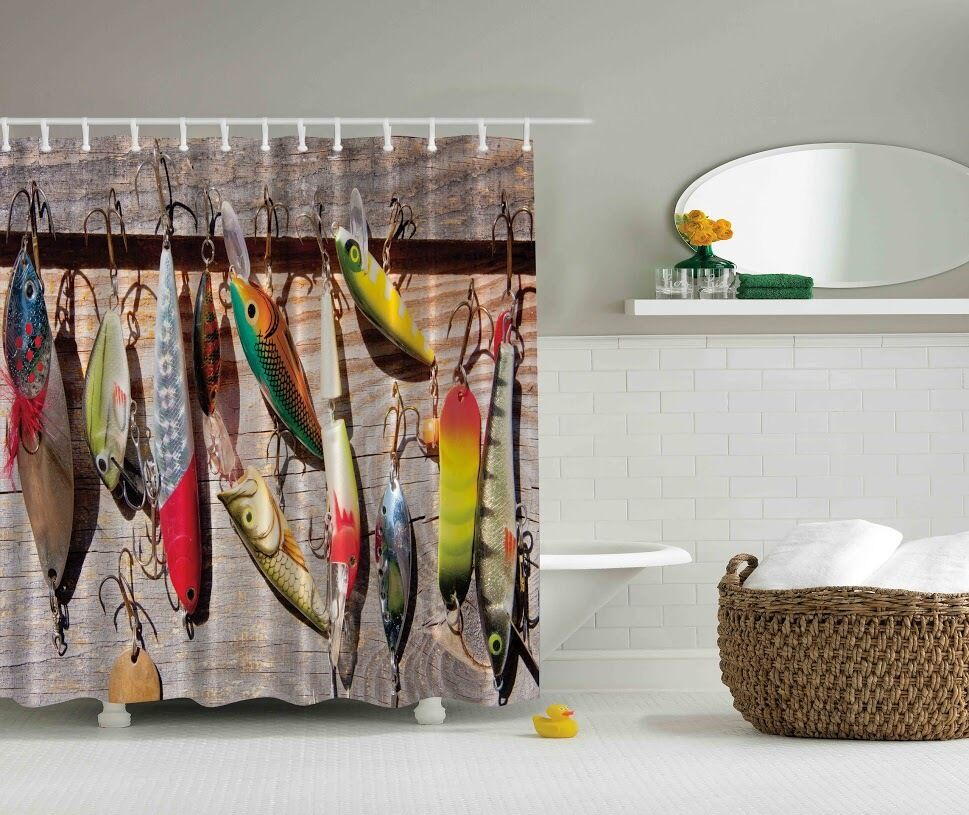 Colorful Fish Wooden Deck Graphic Shower Curtain Lures Tackle Hooks Bath Decor Ebay