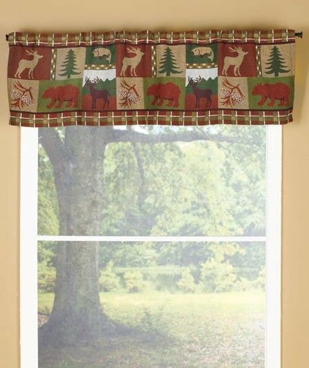 Evergreen wildlife tapestry window valance lodge cabin for Northwood windows