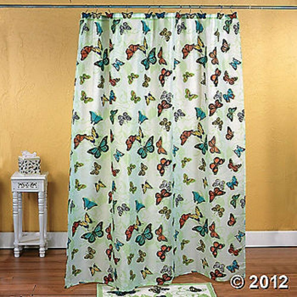 Butterfly shower curtain green colorful bathroom decor 12 for Colorful bathroom decor