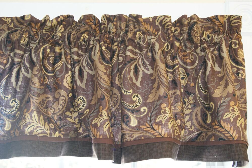 findlay mill creek cocoa brown tan gray toile valance 17 x 55 drap wt curtain ebay. Black Bedroom Furniture Sets. Home Design Ideas