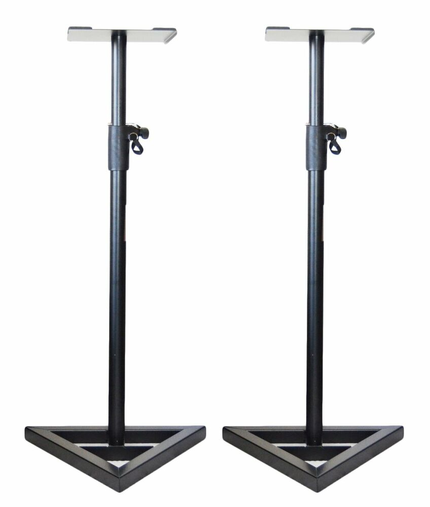 2x ignite heavy duty near field studio monitor speaker stands adjustable pair ebay. Black Bedroom Furniture Sets. Home Design Ideas