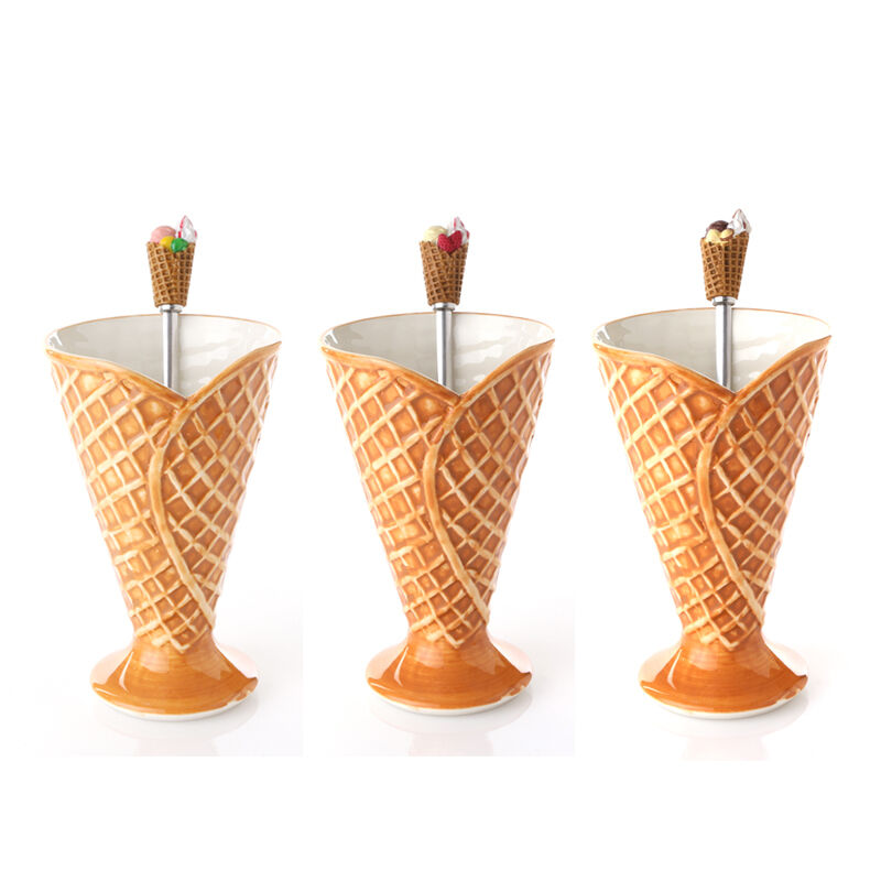 Ice Cream Waffle Cone Ceramic Bowl Cup Amp Stainless Steel