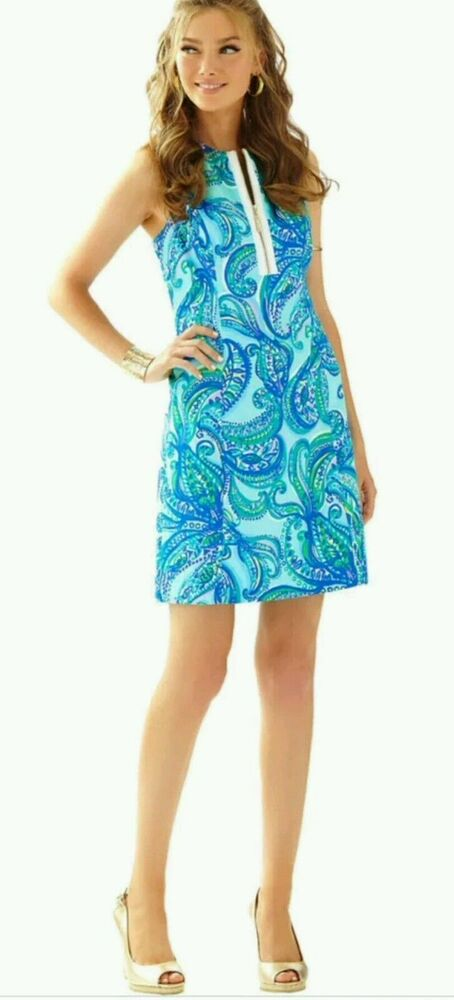 e5538a30fab Details about  198 New Lilly Pulitzer Penelope Shift Dress Poolside Blue  Keep It Current 4 8