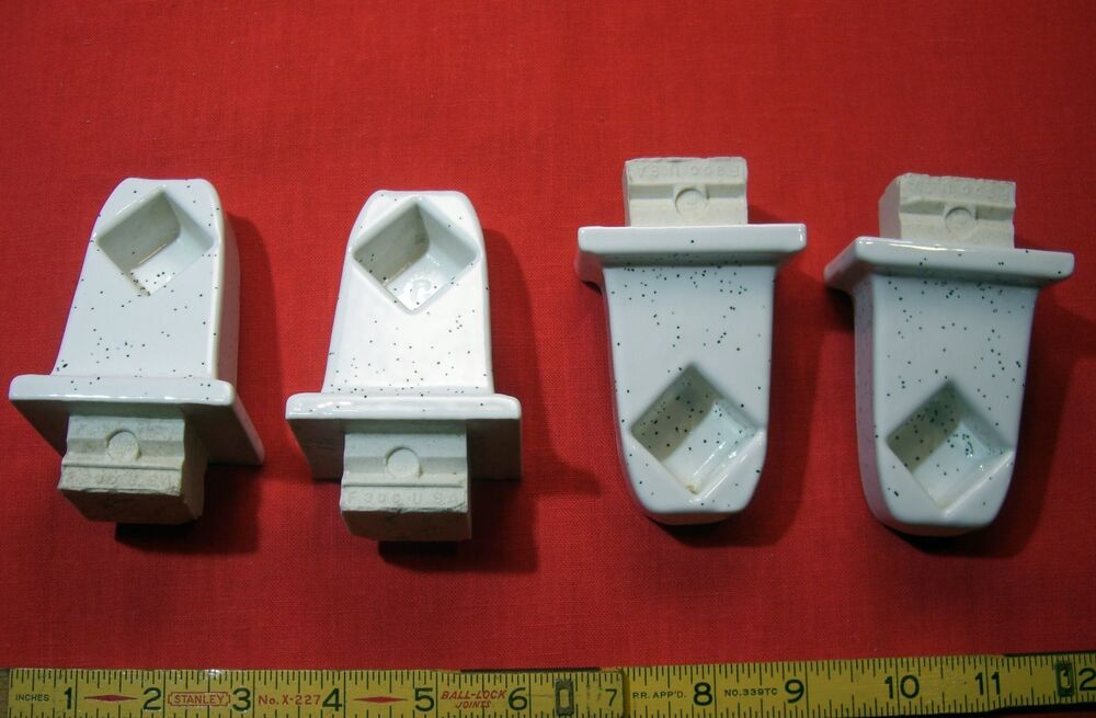 2 Pairs White Speckled Ceramic Towel Bar Brackets With 24