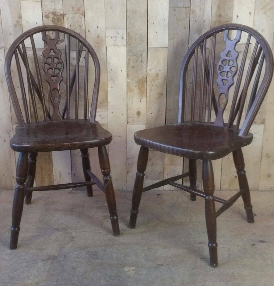 Vintage Wooden Kitchen Chairs: Retro Vintage Wooden Pair Of Wheel Back Chairs