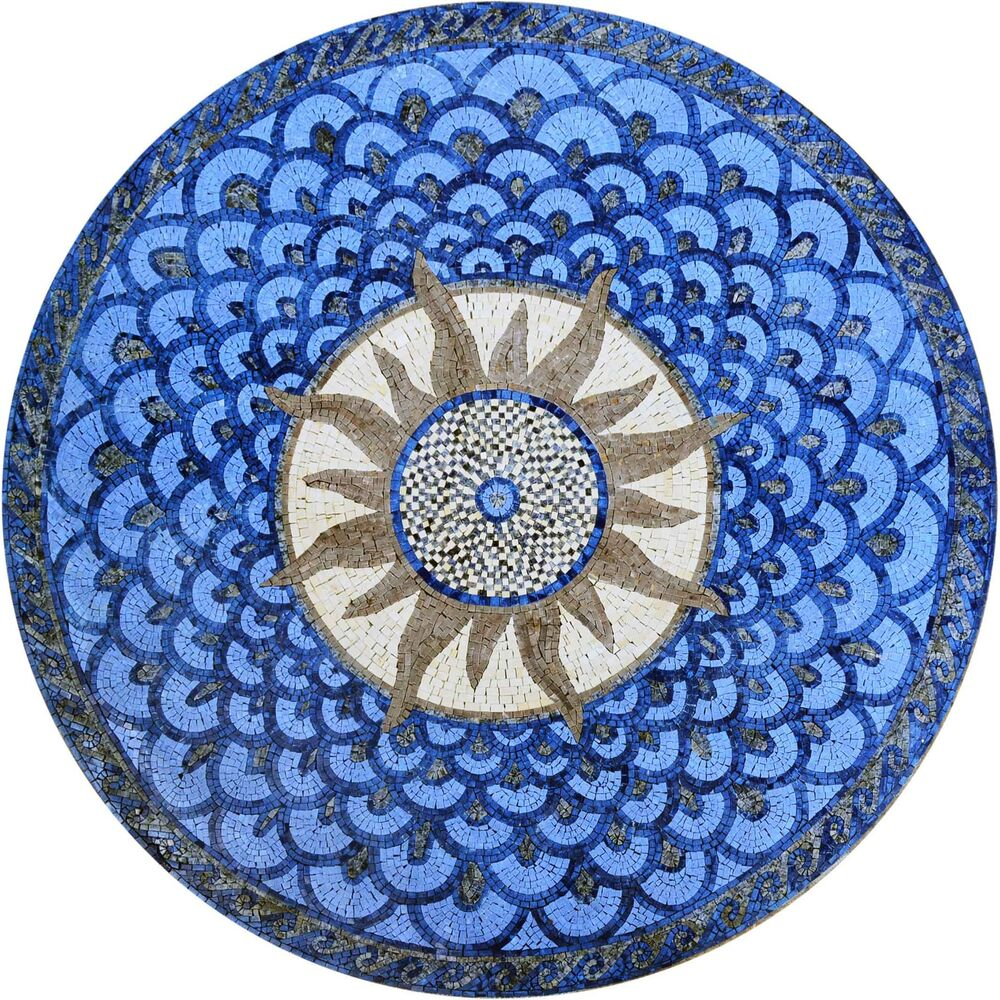 Round stone mosaic sun wall or tabletop or floor art tile Mosaic tile wall designs