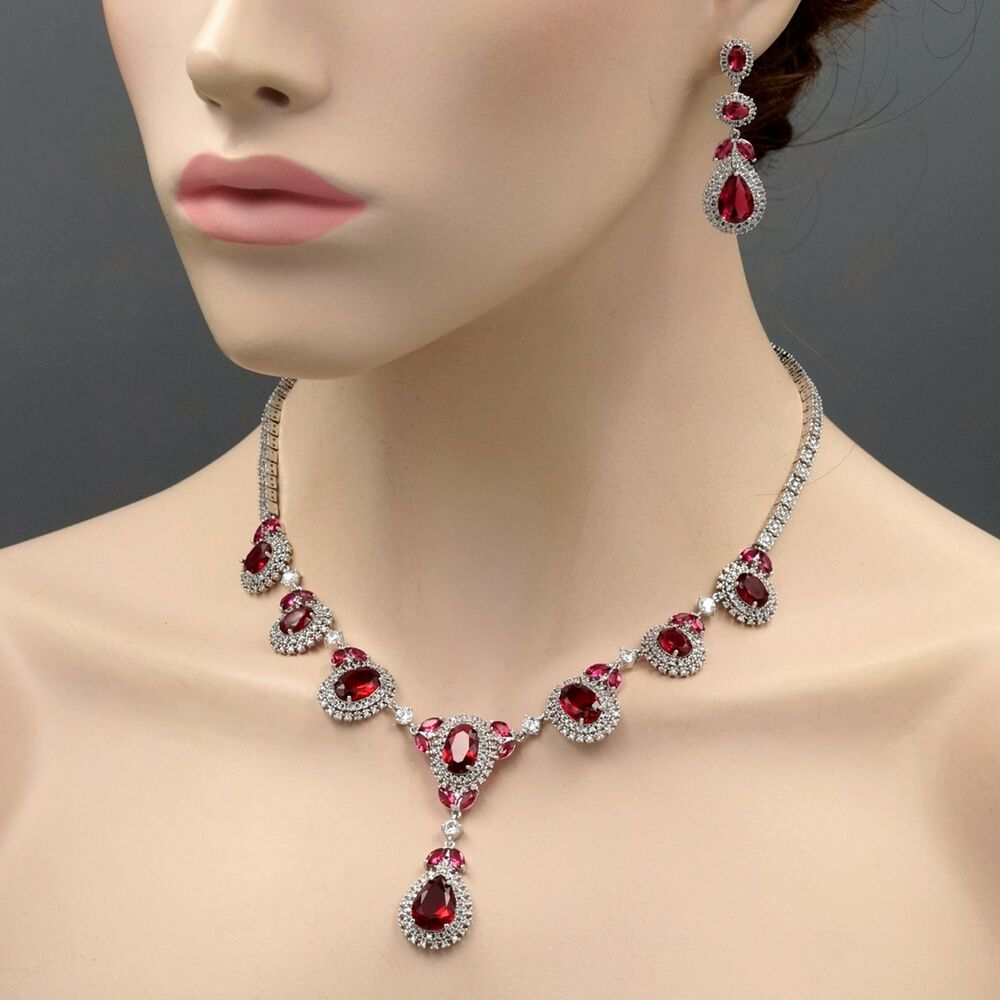 Pink Ruby Jewellery: 18K White Gold GP Ruby Red Zirconia CZ Necklace Earrings