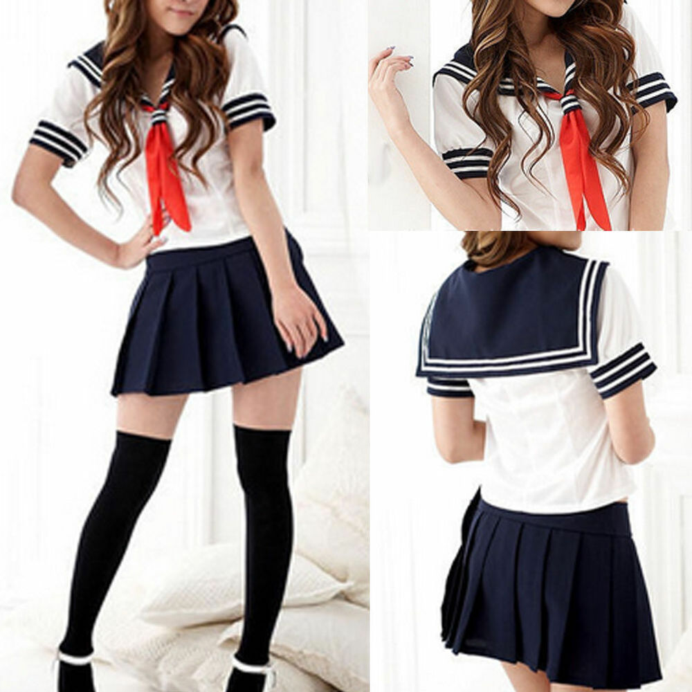 Fashion Japanese School Girl Students Sailor Uniform Sexy Anime