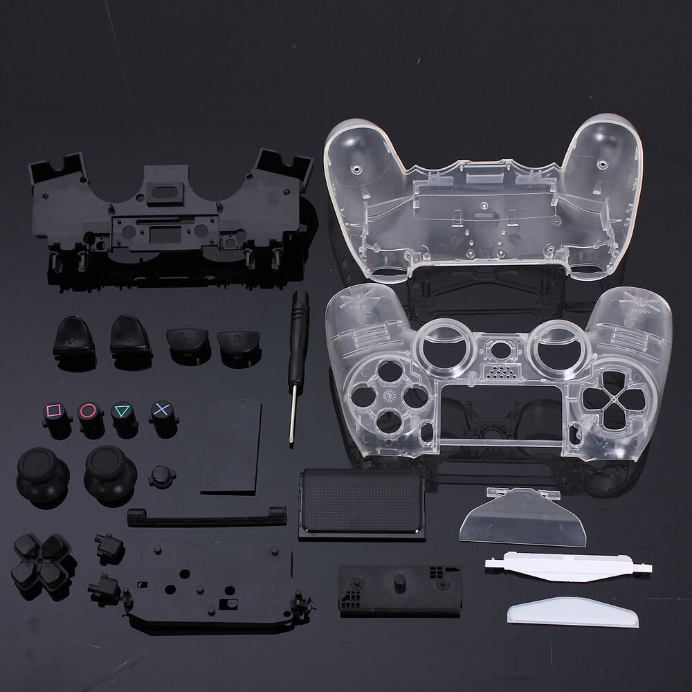 Custom full shell housing mod kit in clear for ps4 for Housse manette ps4