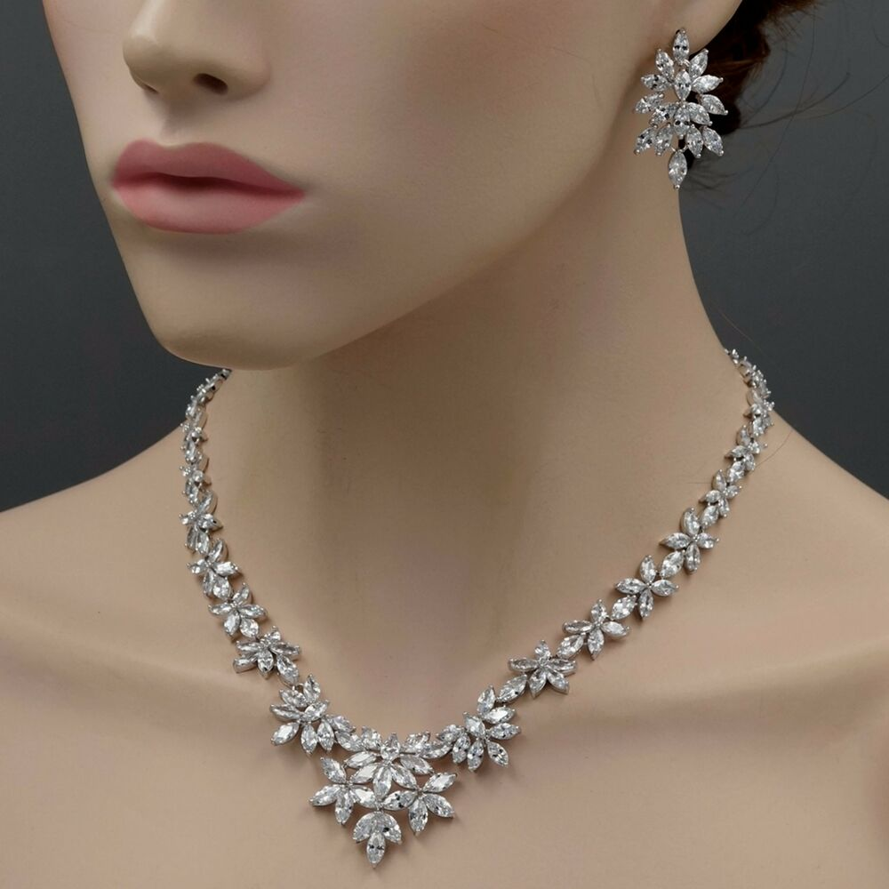 Wedding Earrings White Gold: 18K White Gold GP Cubic Zirconia CZ Necklace Earrings