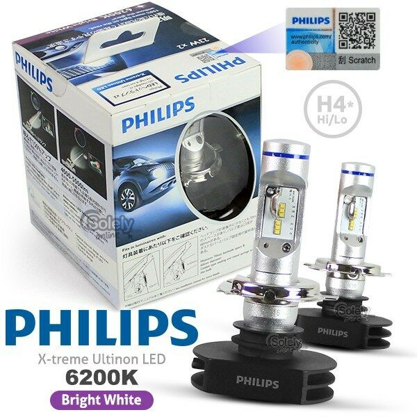 genuine pair philips h4 6200k x treme ultinon led high low. Black Bedroom Furniture Sets. Home Design Ideas