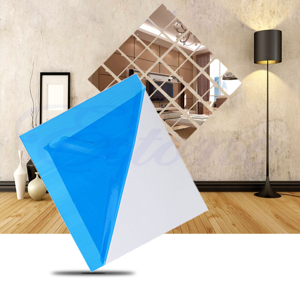 16x self adhesive decorative mirrors tiles mirror wall for Adhesive wall decoration