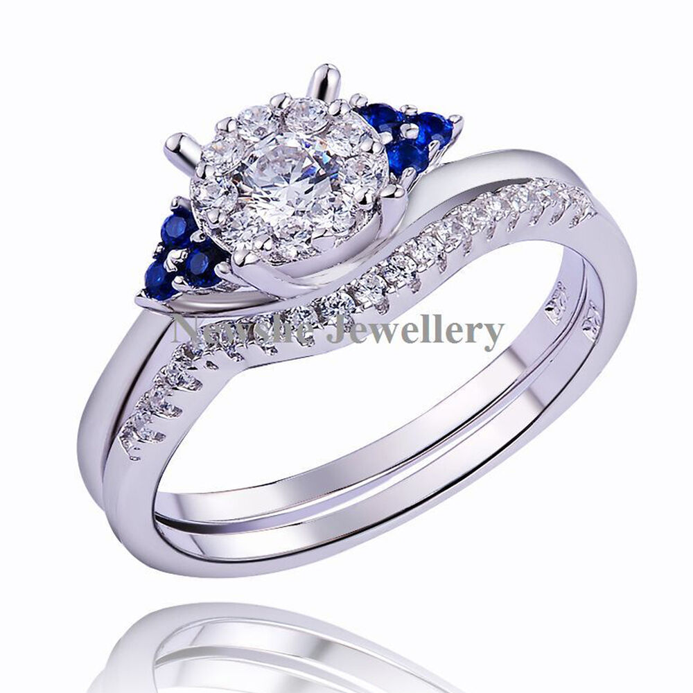Wedding Ring Sets Sterling Silver: Round Blue Sapphire 925 Sterling Silver Engagement Wedding