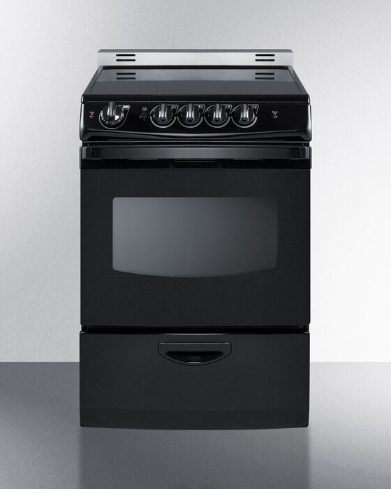 "Electric Range Smooth Top Cooking Surface Summit On In: Summit REX243BRT 24"" Slide In Electric Range Smooth Top"