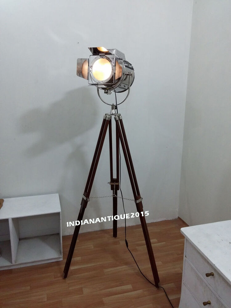search light floor lamp nautical spot studio tripod floor lamps ebay. Black Bedroom Furniture Sets. Home Design Ideas