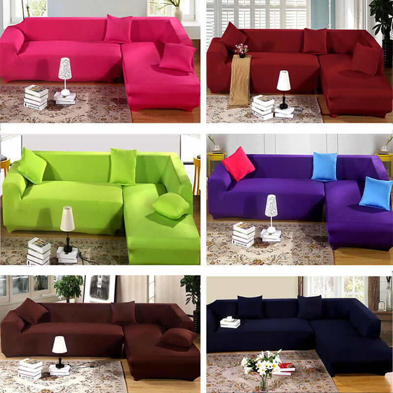 pure color removable stretch sofa slipcover couch pillow cover for l shape sofa ebay. Black Bedroom Furniture Sets. Home Design Ideas