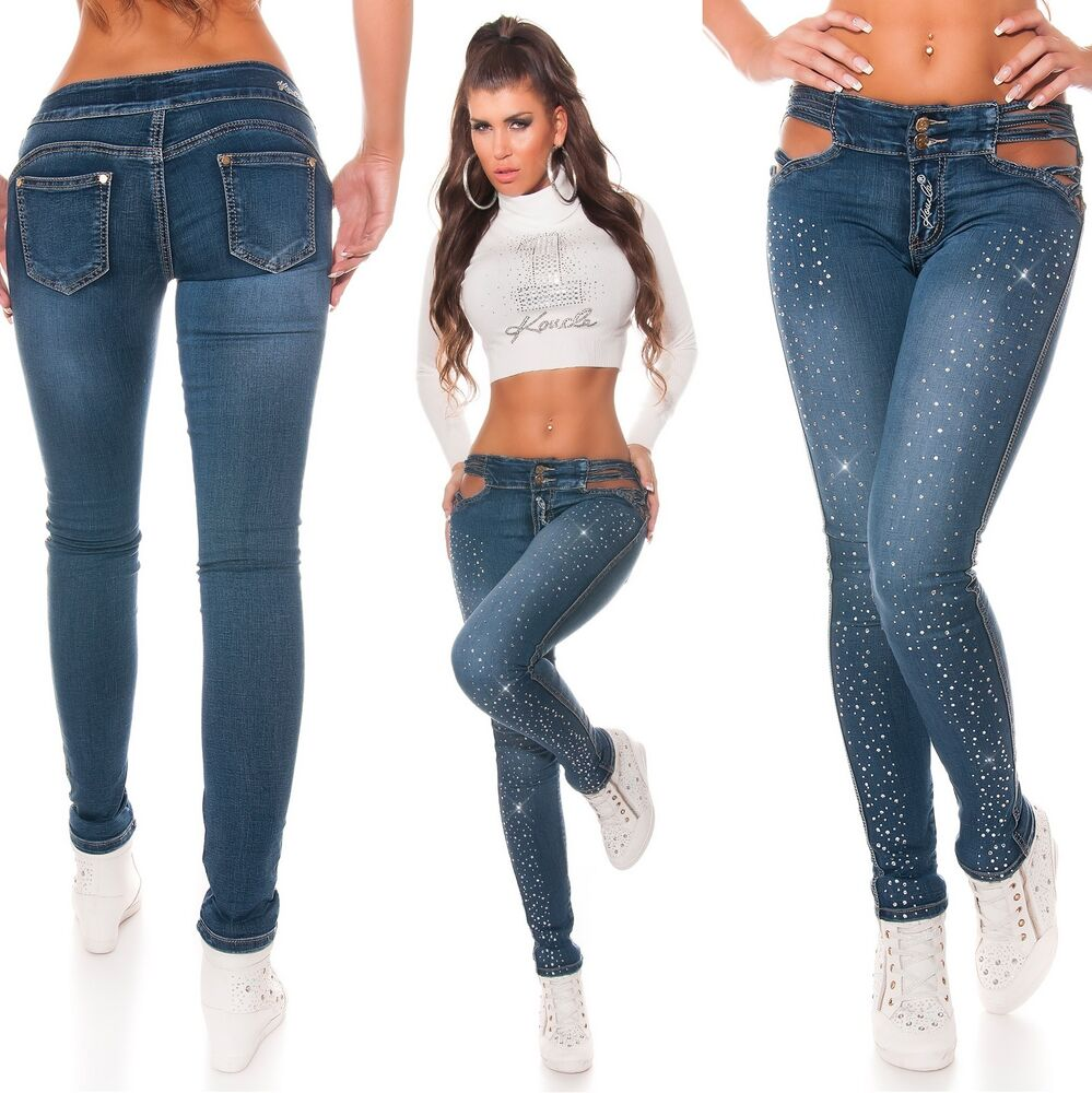 Women's Sexy Exposed Cut-Out Hips Skinny Stretch Denim ...
