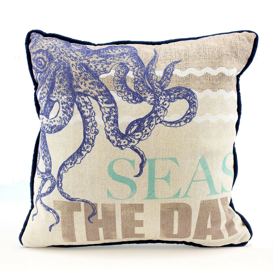 Coastal Home Throw Pillows : Octopus SEAS THE DAY Decorative Sofa Throw Pillow Nautical Beach Coastal Decor eBay