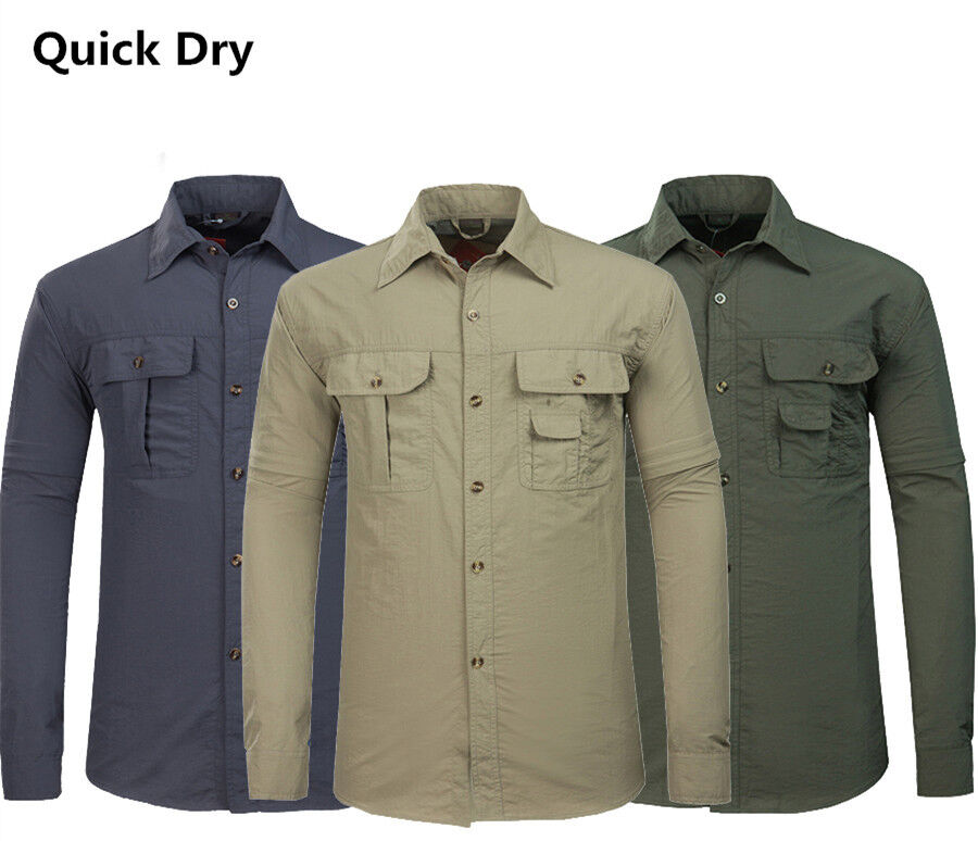 Mens casual quick dry jacket fishing shirt anti uv sun for Spf shirts for fishing