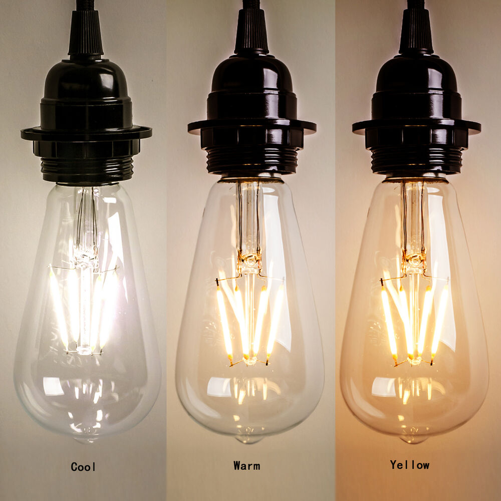 New Vintage Retro Edison E27 2w 8w Screw Led Filament Light Bulb St64 Globe Lamp Ebay