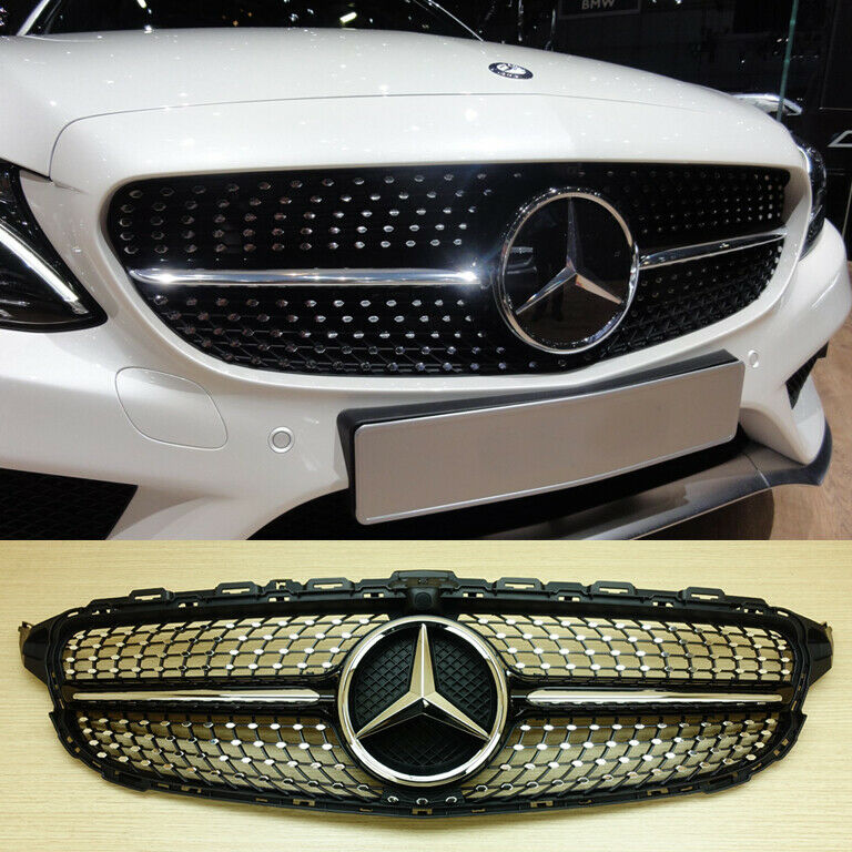 2015 mercedes benz w205 c class c63amg type piano black for Mercedes benz c300 grill