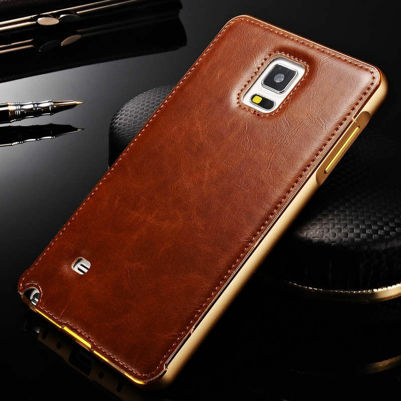 Luxury Leather Back Cases Aluminum Metal Bumper Cover For