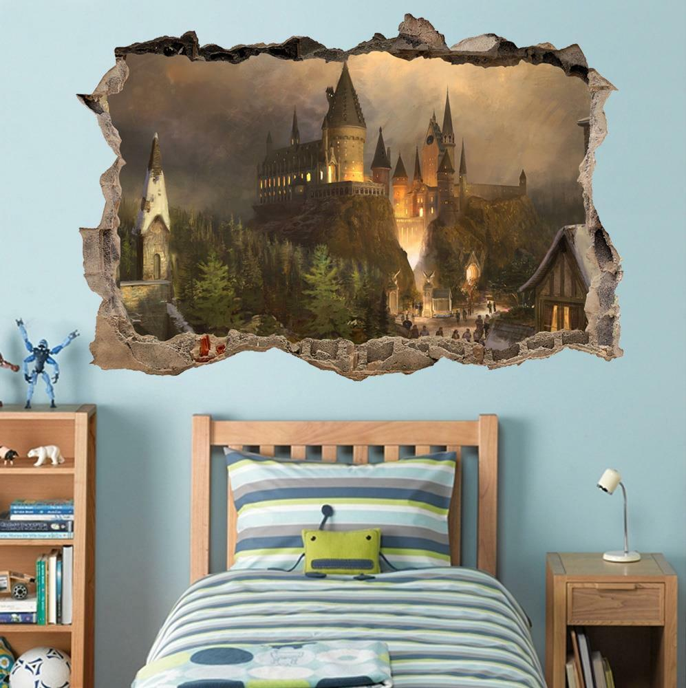 Hogwarts harry potter smashed wall decal removable wall for Bedroom mural designs