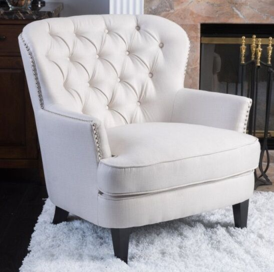 Ivory Club Chair Tufted Accent Arm Chairs White Cream Living Room Furniture N