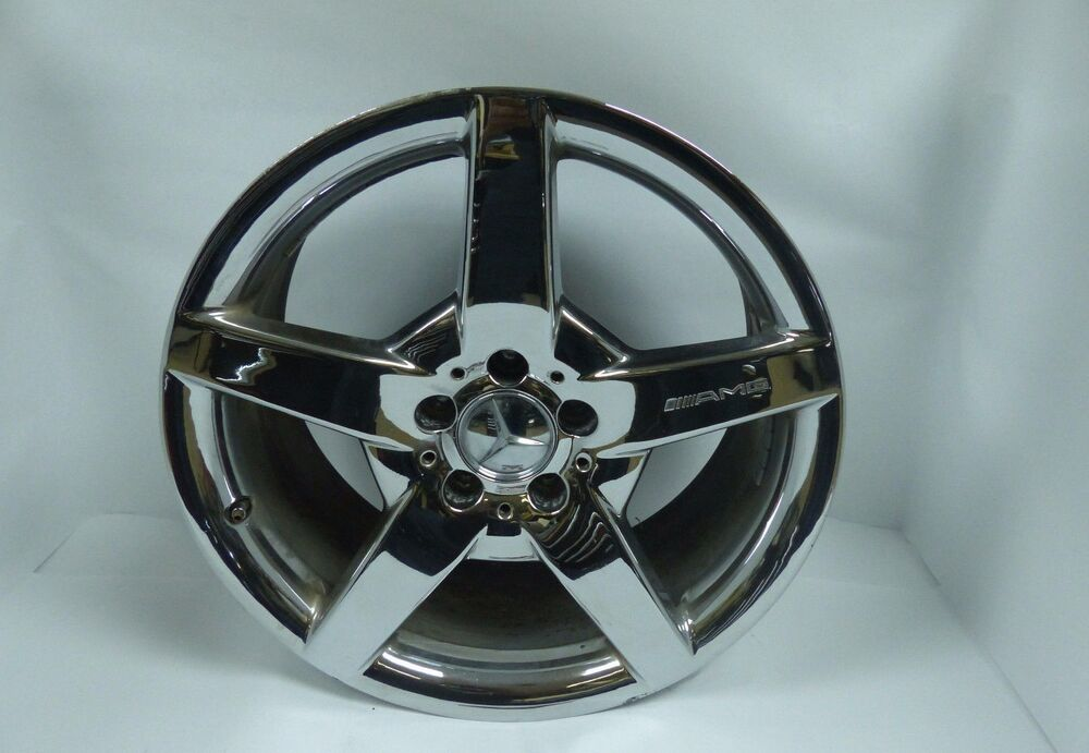 Oem mercedes benz amg 18 8 5 chrome wheel rim rear for Chrome rims for mercedes benz