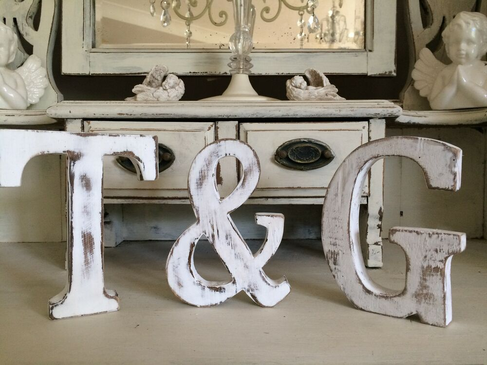 large shabby chic vintage white wooden baby names a z initial alphabet letters ebay. Black Bedroom Furniture Sets. Home Design Ideas