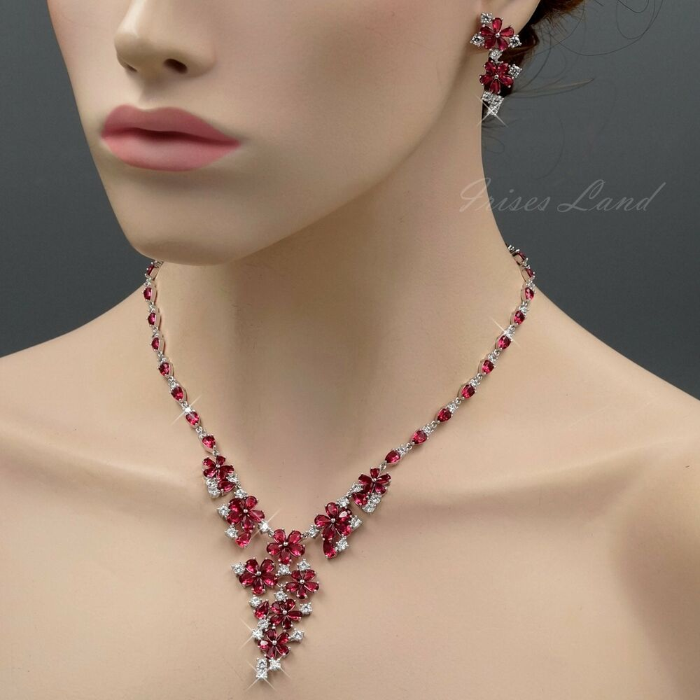 White Gold Plated Red Cubic Zirconia Necklace Earrings