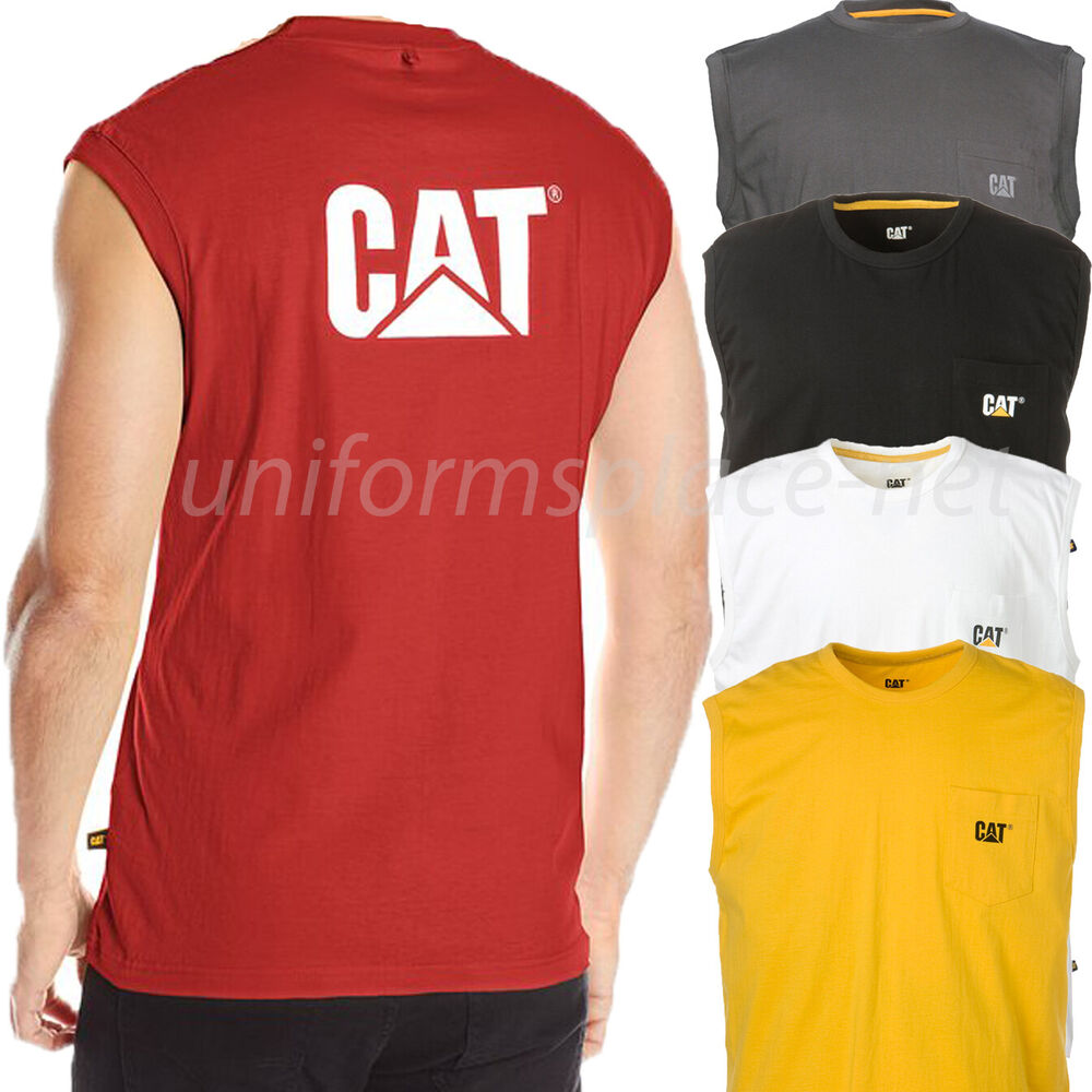 Caterpillar t shirt mens trademark sleeveless pocket logo for Places to sell t shirts