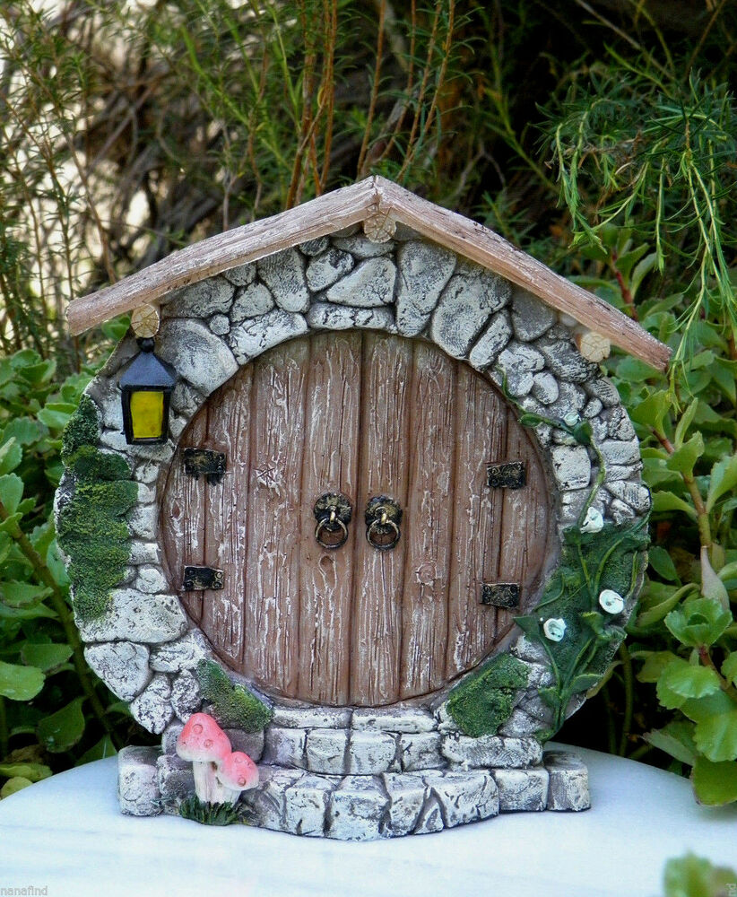 Miniature dollhouse fairy garden gnome charming round for Outdoor fairy door