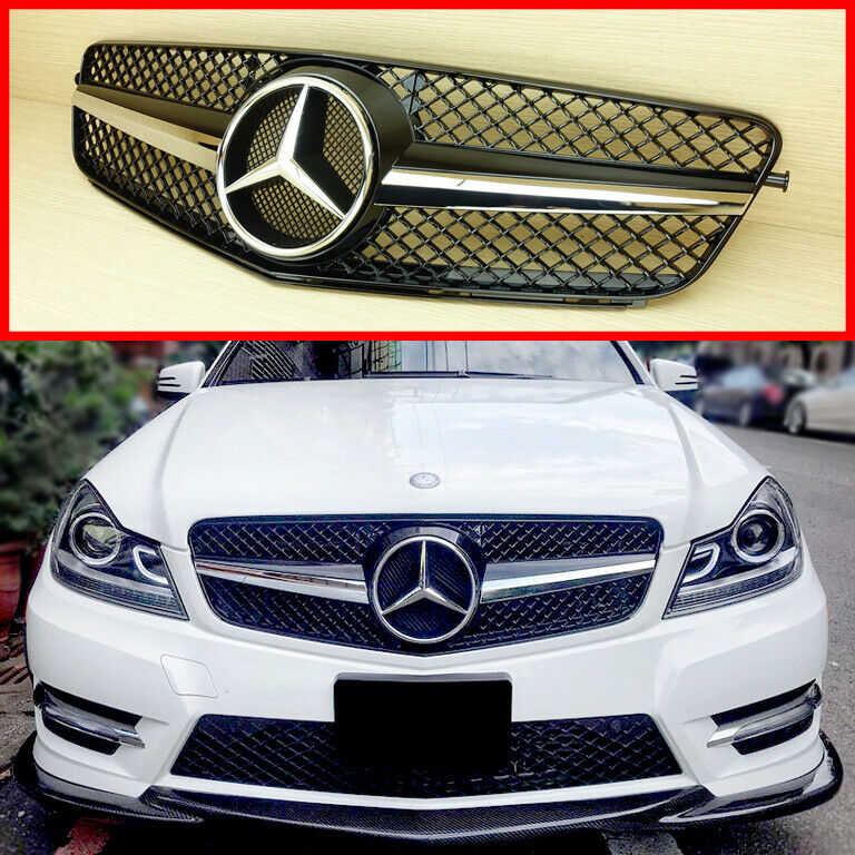 gloss black front grille for mercedes benz 2008 13 c class. Black Bedroom Furniture Sets. Home Design Ideas
