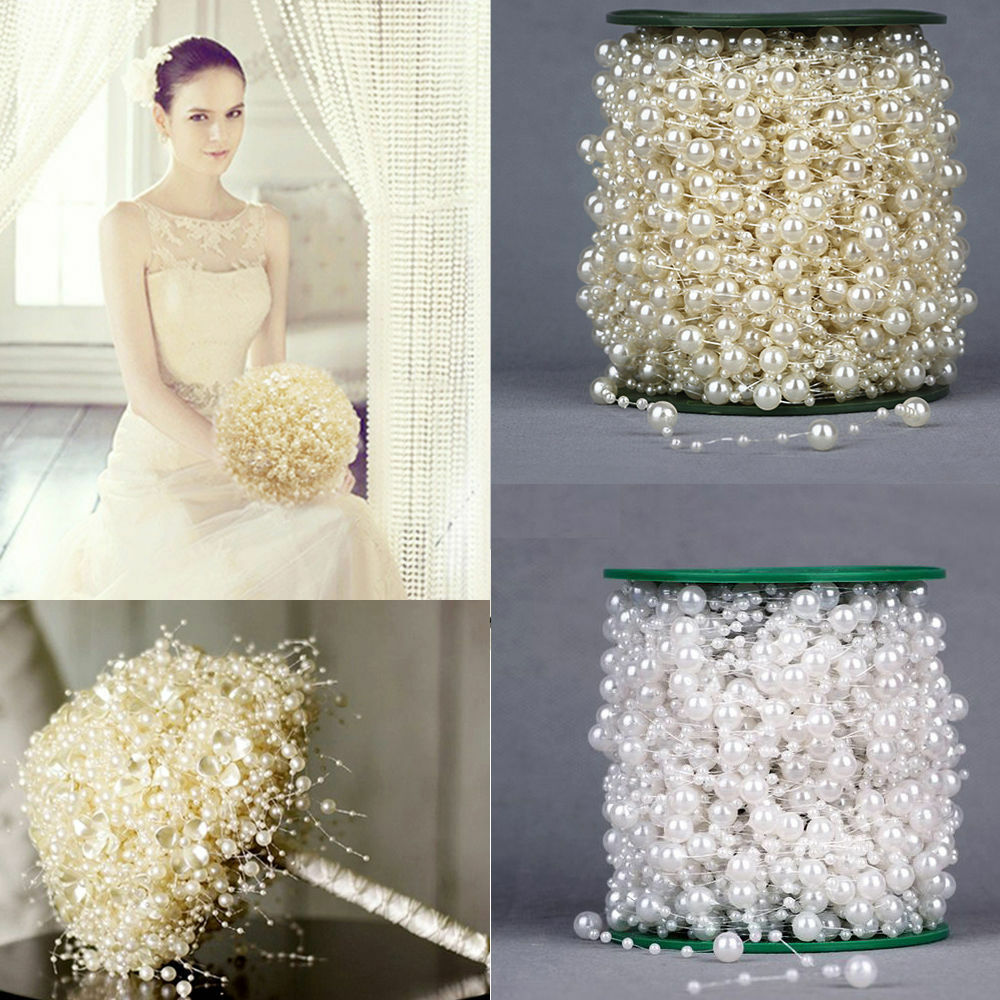 5m 10m 60m Fishing Line Pearls Chain Pearl Beads Chain: 60m/Roll 8mm&3mm Pearls String Beads Garland Christmas