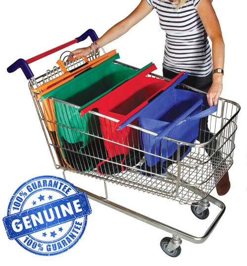Trolley bags original vibe set of 4 reusable supermarket shopping bags ebay